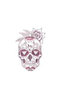 calavera skull red