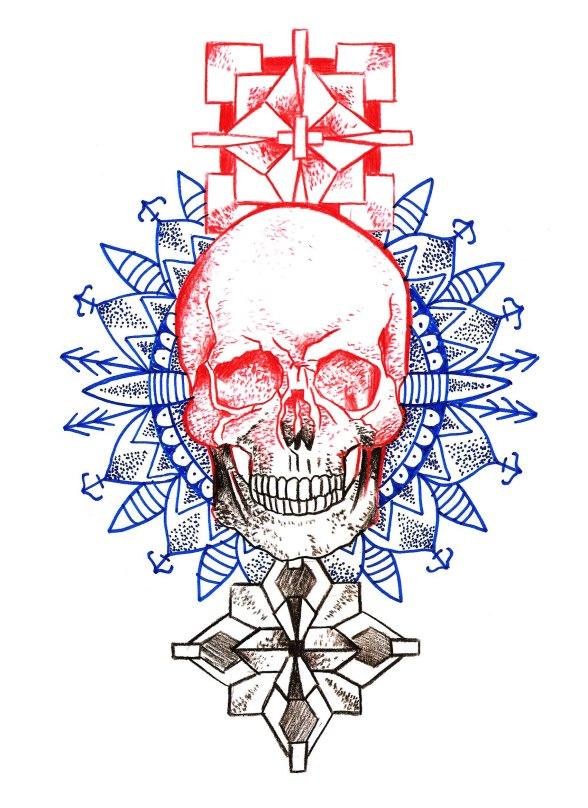 mandala cube skull