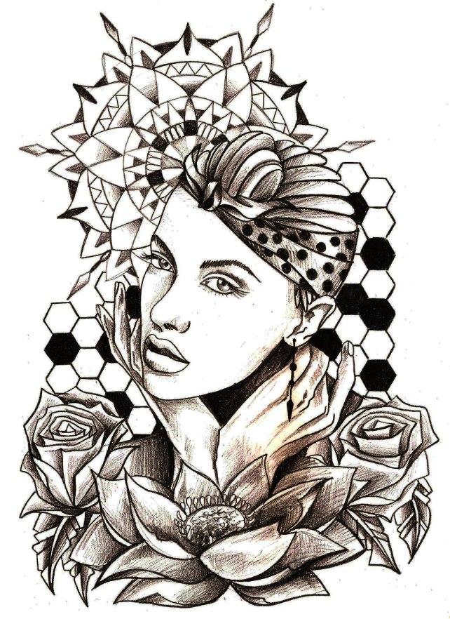 mandala visage lotus